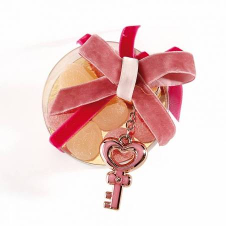 Porte-clefs coeur rose 3h4,5cm