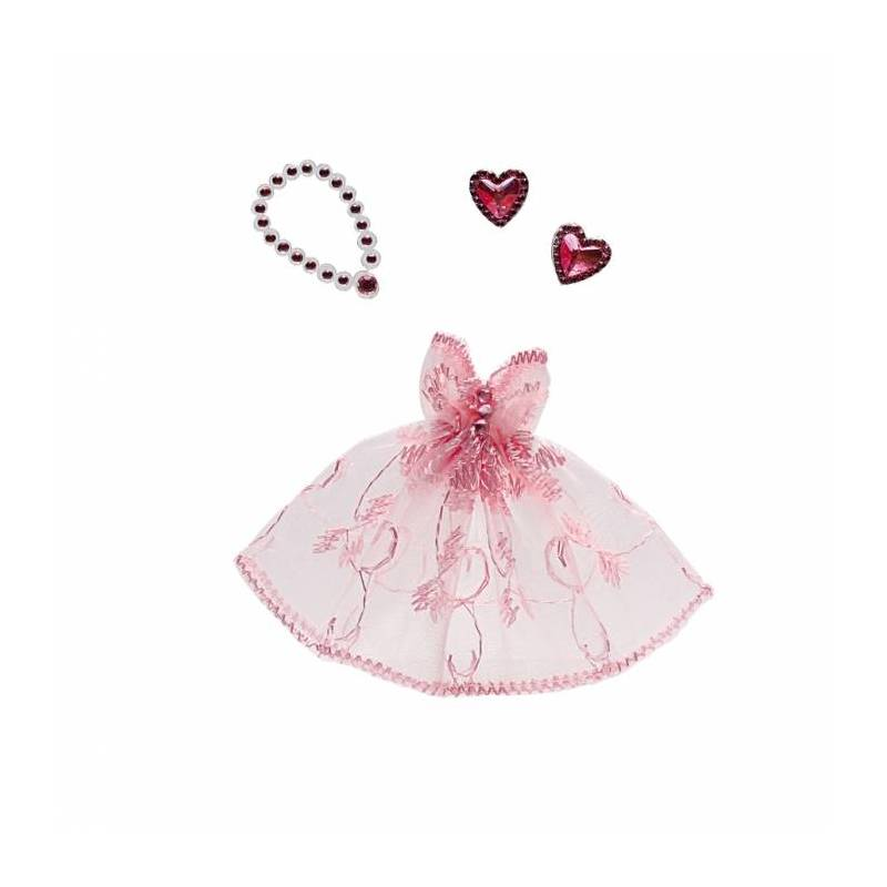 Robe princesse rose avec bijoux 8,5h6cm