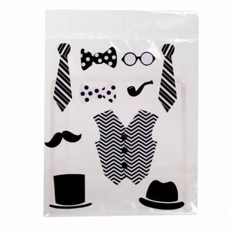 Accessoires homme noir/blanc (10pcs) 4h4,5cm