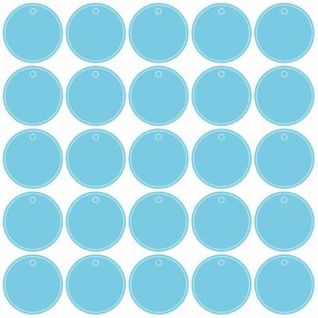 25 nominettes rondes turquoise n°2 d4cm