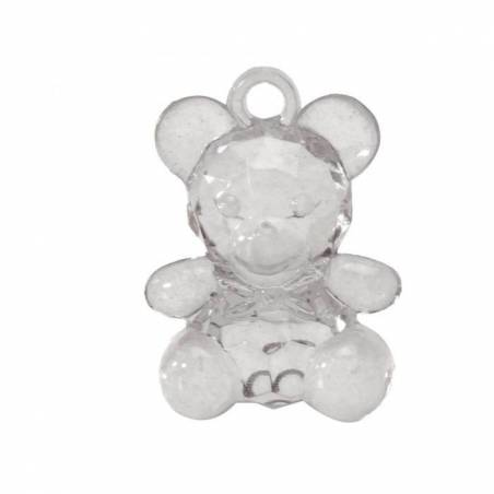 Bijoux ourson transparent h3,4cm