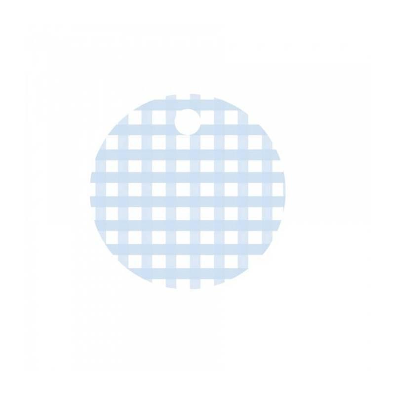 25 nominettes rondes bleu clair vichy d3cm