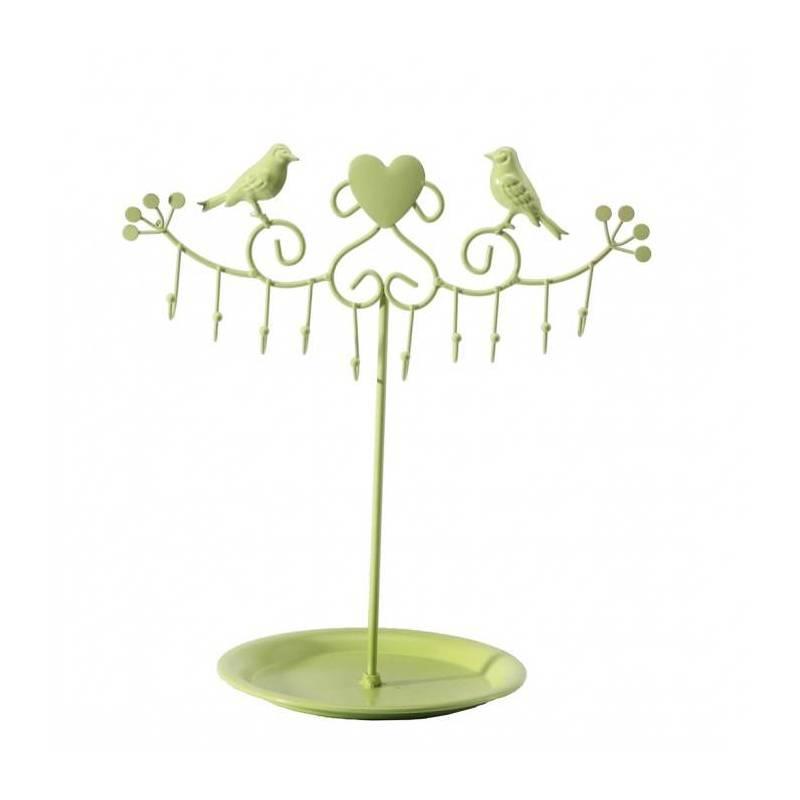 Presentoir oiseaux crochets vert 33h35cm