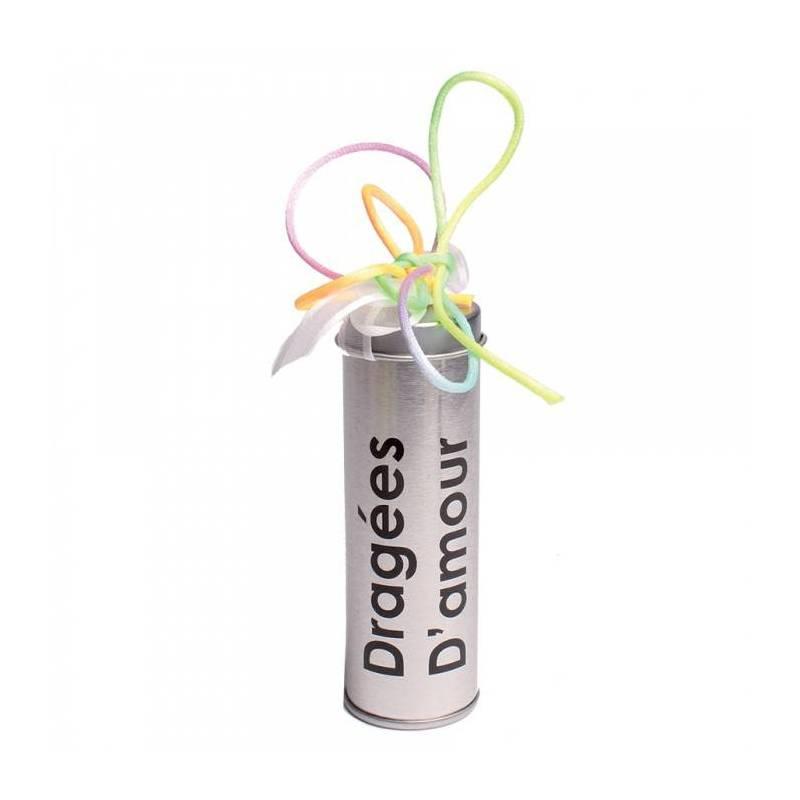 "Boite tube ""dragees d'amour"" metal d3,5h10cm"