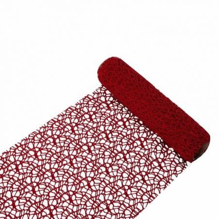 Chemin de table macrame rouge fonce 26cmx3mt