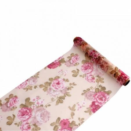 Chemin de table organza fleurs boudoir 28cmx5mt