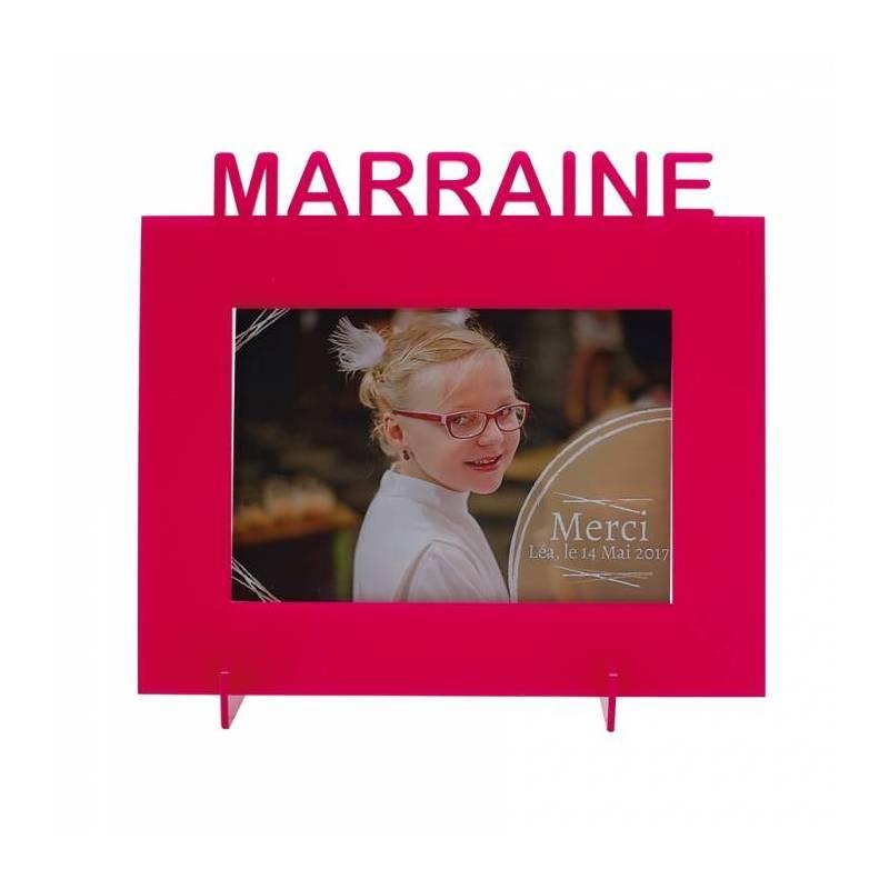 """Cadre fuchsia """"Marraine"""" 21,5h18,5cm"""