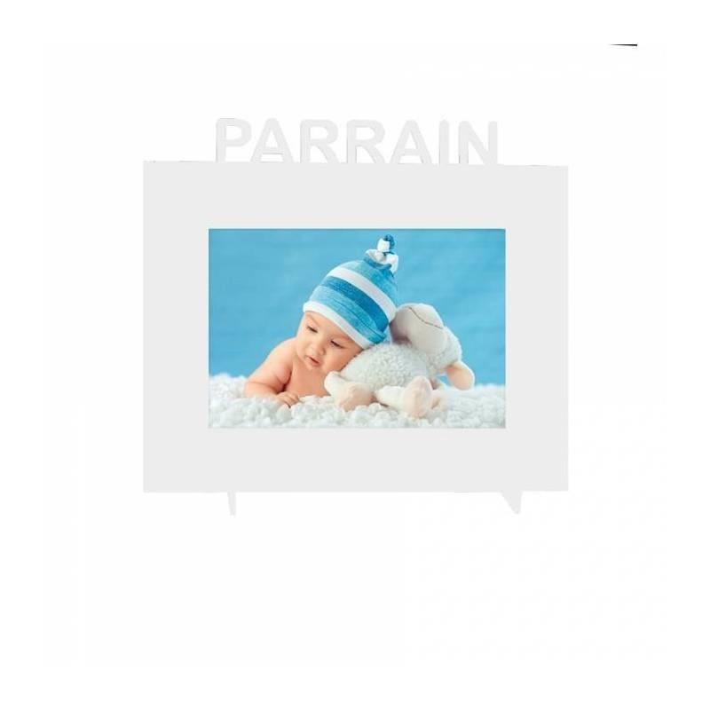 """Cadre blanc """"Parrain"""" 21,5h18,5cm"""
