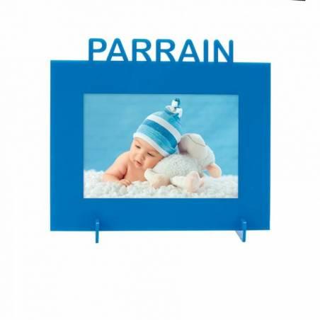 """Cadre bleu """"Parrain"""" 21,5h18,5cm"""