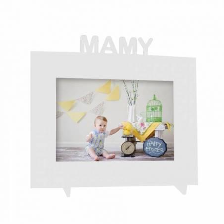 "Cadre blanc ""Mamy"" 21,5h18,5cm"