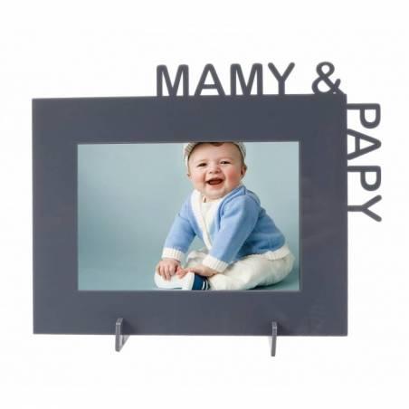 "Cadre gris ""Mamy & papy"" 23,5h18,5cm"