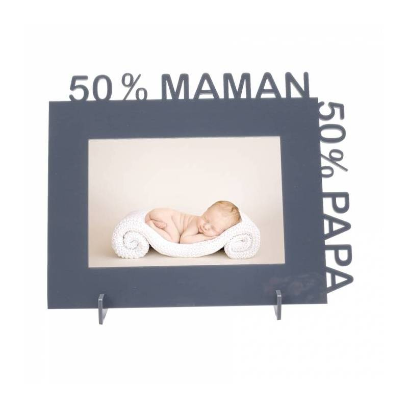 Cadre 50% maman 50% papa 23,5h18,5cm