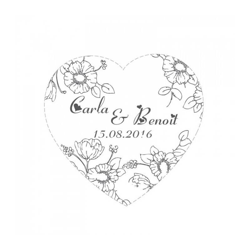 Stickers p.coeur fleurs 40pcs d3cm