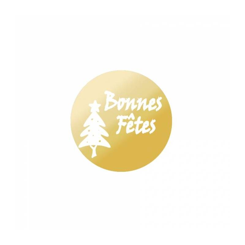 "Stickers p.""bonnes fetes or"" 40pcs p.n. d3cm"