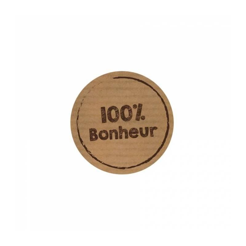 Stickers p.kraft 100% bonheur 40pcs d3.8cm