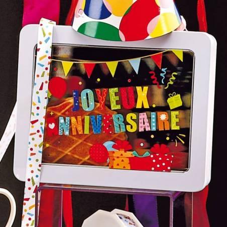 """Bte blc fen.+imp.""""Joyeux anniversaire"""" 19x15h4,5cm"""