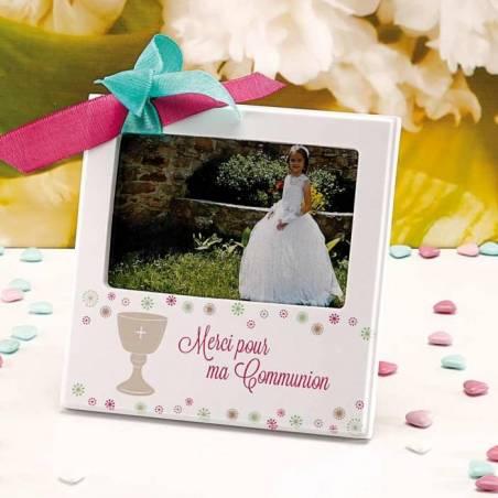 """Cadre blanc """"calice fleurs colores"""" 18x18cm"""