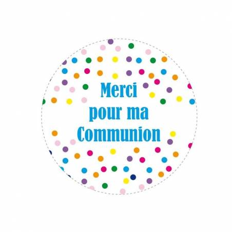 "Stickers ""Merci pour ma communion"" 40pcs d3,8cm"