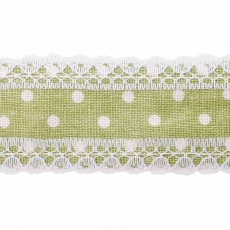 Ruban bord dentelle vert olive pois blcs. 40mmx4,5m