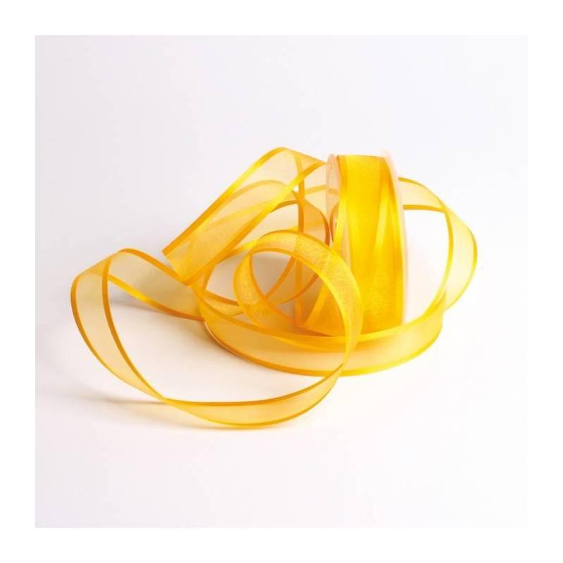 Ruban voile bord satin jaune fonce 25mmx25mt