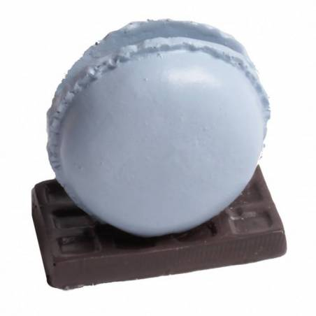 Macaron bleu pastel porte-nom h5,5cm