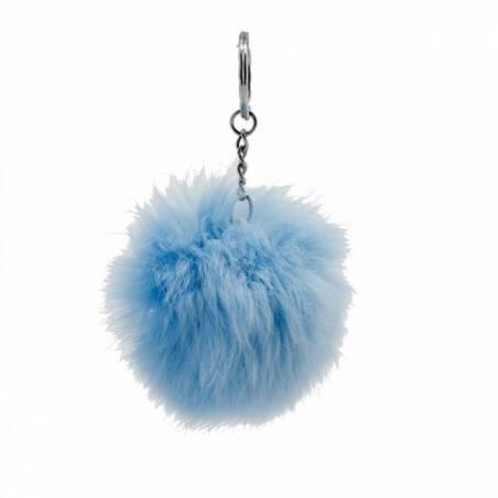 Pompon bleu clair porte-clefs d5cm
