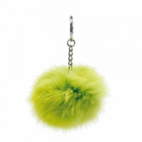 Pompon vert porte-clefs d5cm