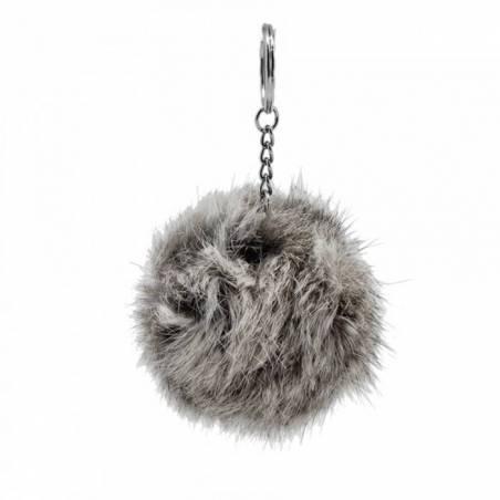 Pompon gris porte-clefs d5cm