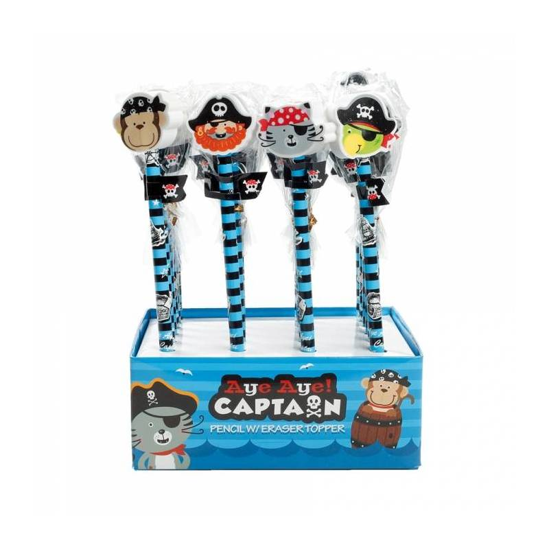 Crayons pirate 4ass + presentoir h19,5cm
