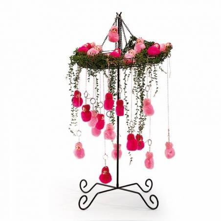 Bebe pompon porte-clefs rose n°1 d5h6,5cm