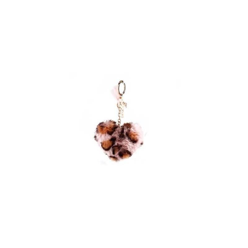 Porte-clefs pompon coeur rose leopard 9h7,5cm