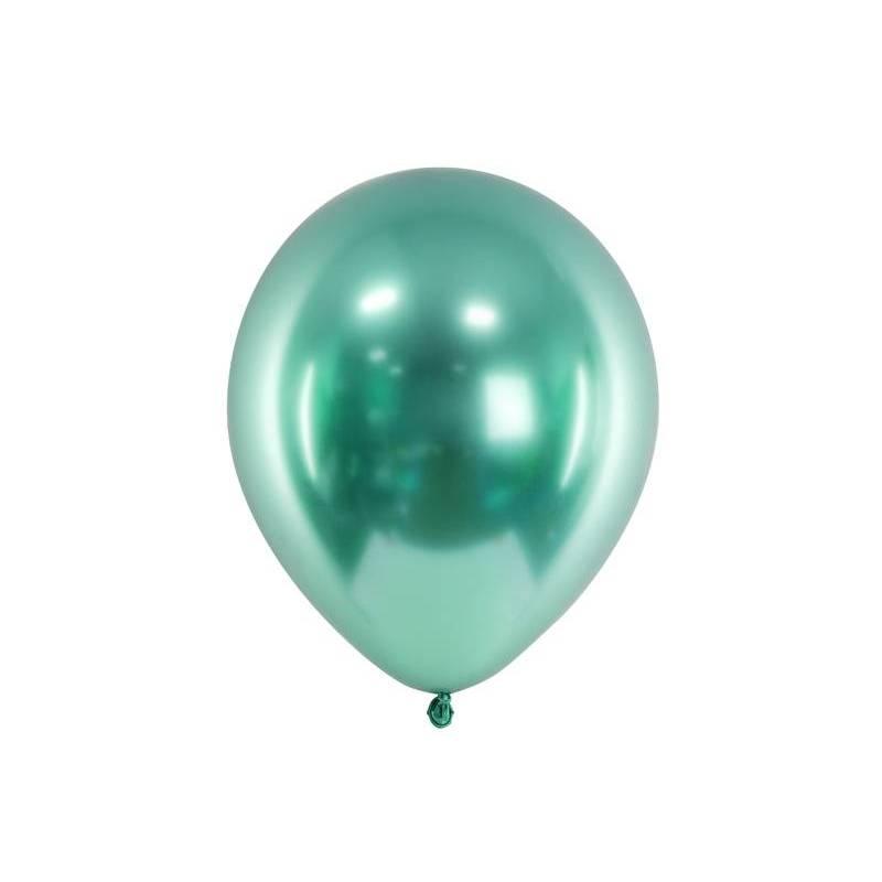 Ballons brillants 30 cm vert bouteille