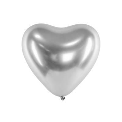 Ballons brillants 30 cm coeurs argent