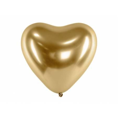 Ballons brillants 30 cm coeurs or