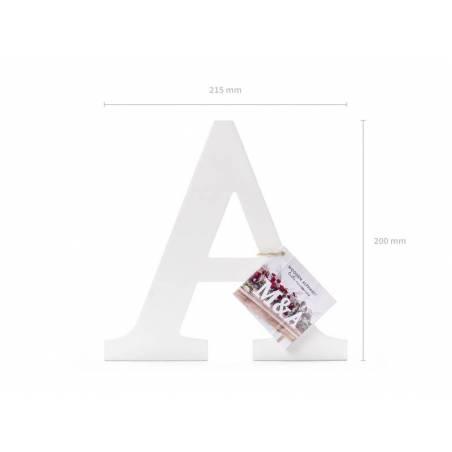 Lettre A en bois, blanc, 21,5x20cm