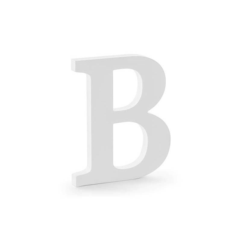 Lettre B en bois, blanc, 16,5x20cm