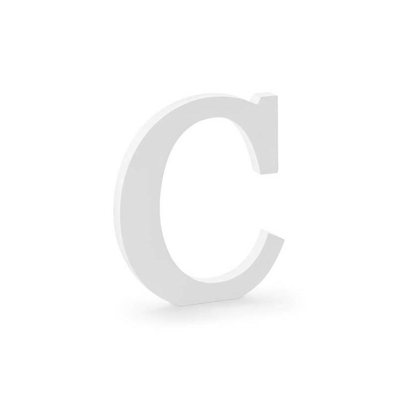 Lettre C en bois, blanc, 17x20cm