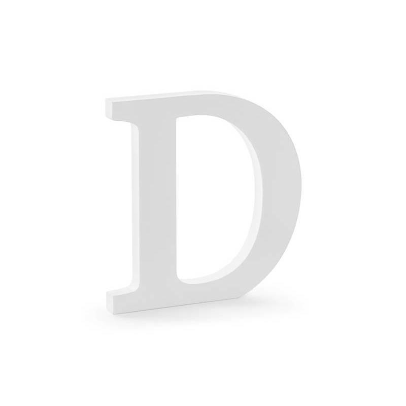 Lettre en bois D, blanc, 19,5x20cm