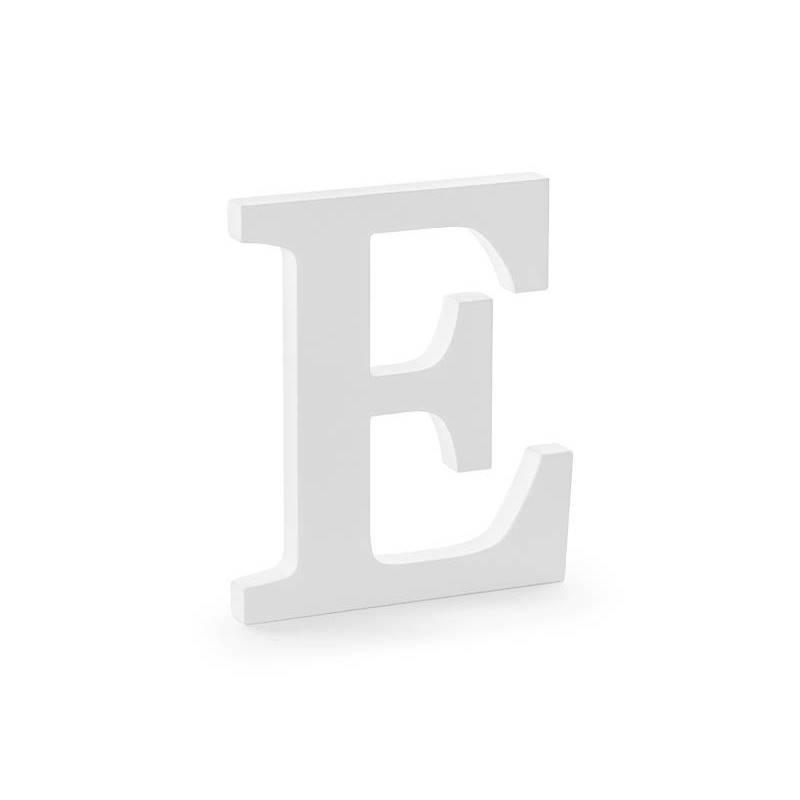 Lettre E en bois, blanc, 17x20cm