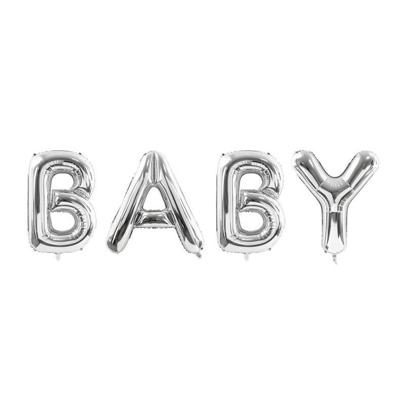 Ballon aluminium Baby, 262x86cm, argent