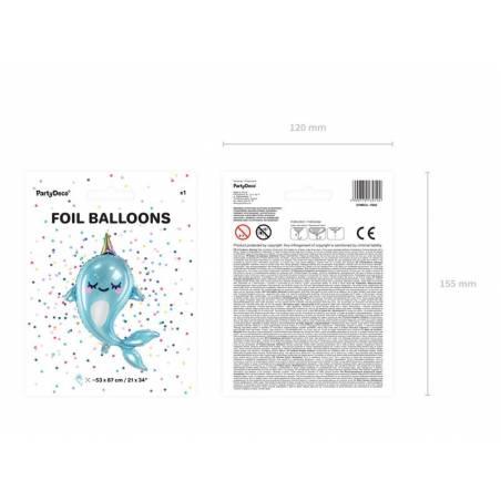 Ballon aluminium Narwhal, 53x87cm, mix