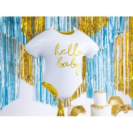 Barboteuse bébé ballon aluminium - Hello Baby, 51x45cm, blanc