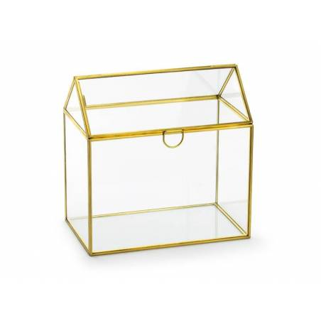 Porte-cartes cadeau en verre, or, 13x21x21cm