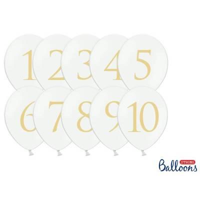 Ballons 30cm chiffres mélange pastel blanc pur
