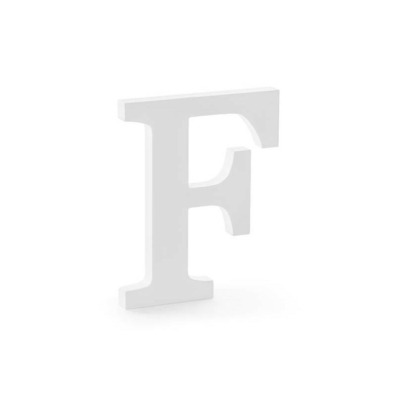 Lettre F en bois, blanc, 16x20cm