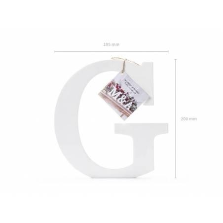 Lettre G en bois, blanc, 19,5x20cm