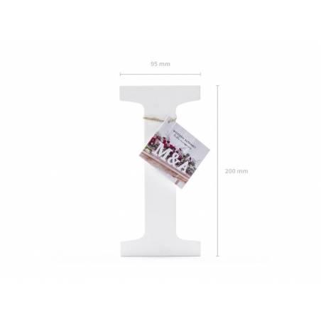 Lettre I en bois, blanc, 9.5x20cm
