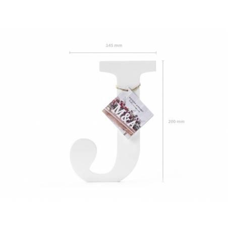 Lettre J en bois, blanc, 14,5x20cm