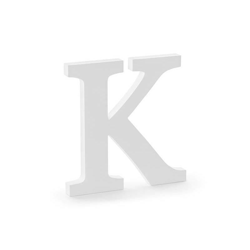 Lettre K en bois, blanc, 19,5x20cm