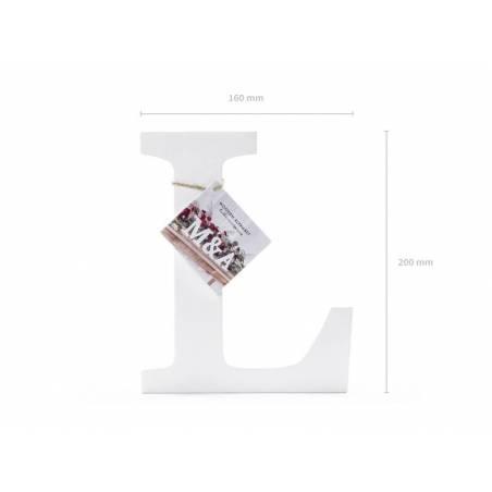 Lettre en bois L, blanc, 16x20cm